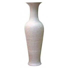 Vase long col nacre blanc