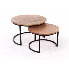 Tables salon Shiva naturel avec pieds (set de 2)