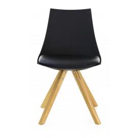 Chaise noire gamme Miia pieds carrés