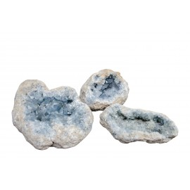 bloc de cristaux de celestine bleue ou pierre des Anges