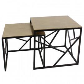 SET DE DEUX TABLES D'APPOINT GOLD/NOIR METAL
